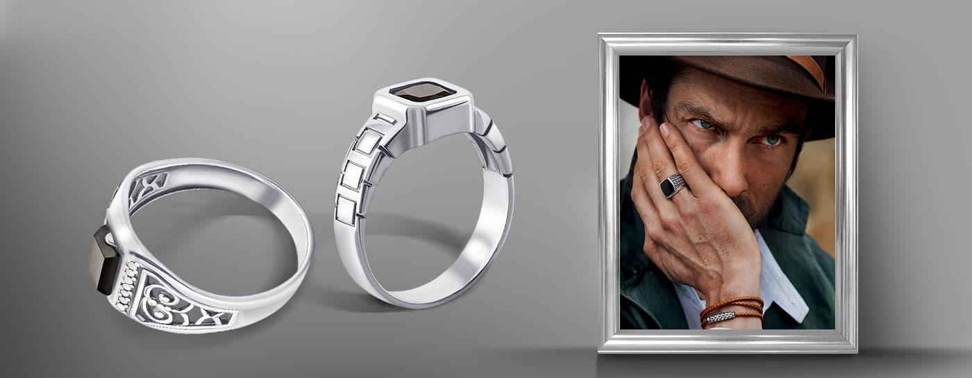 Мужской перстень из серебра с камнем фото