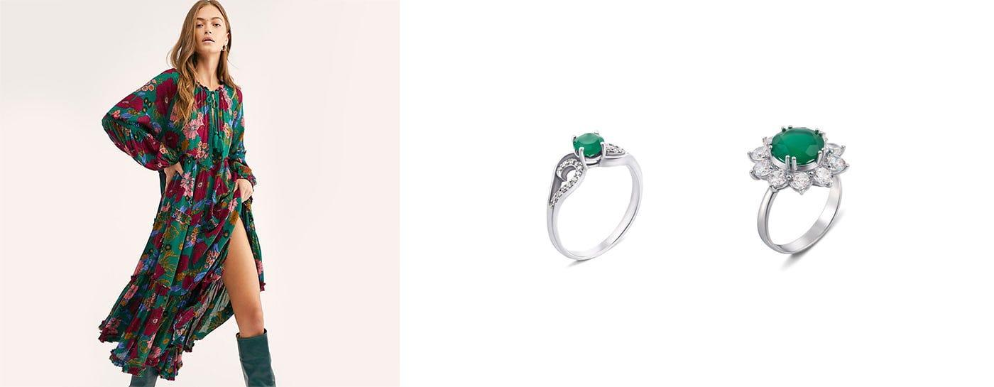 Серебряные кольца с агатом купить