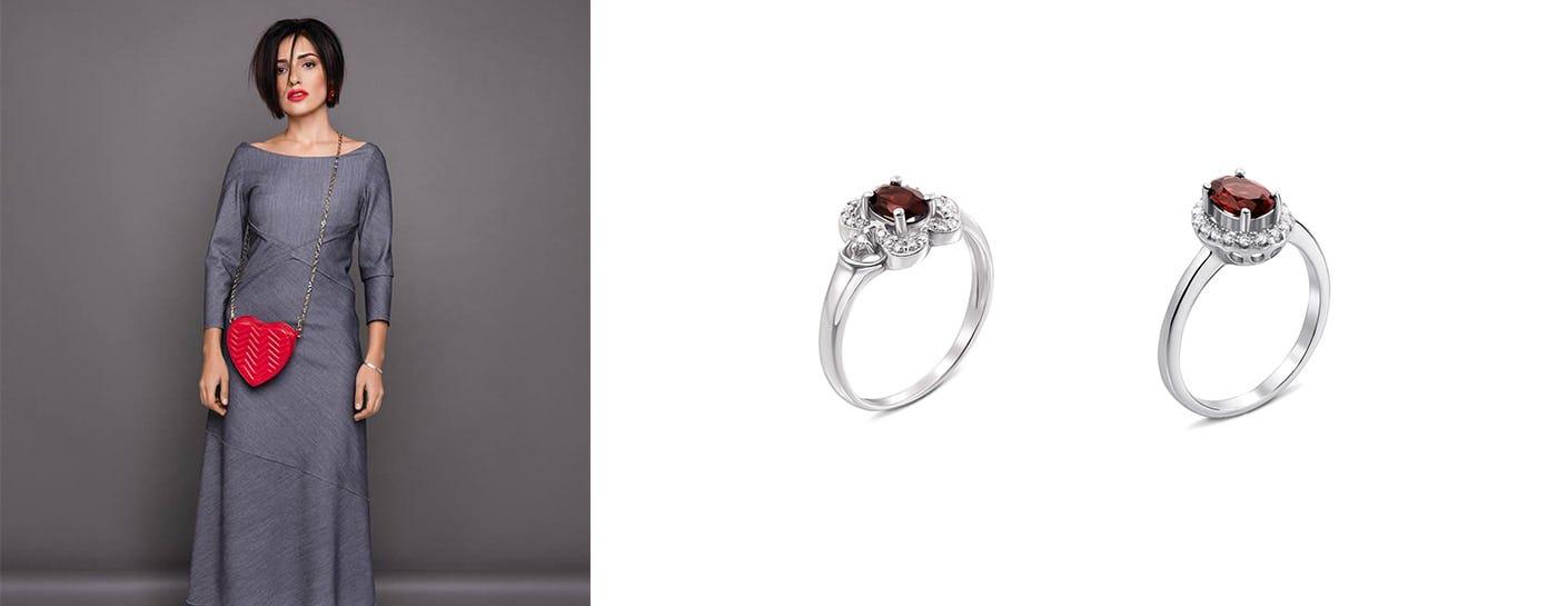 Серебряные кольца с гранатом цена