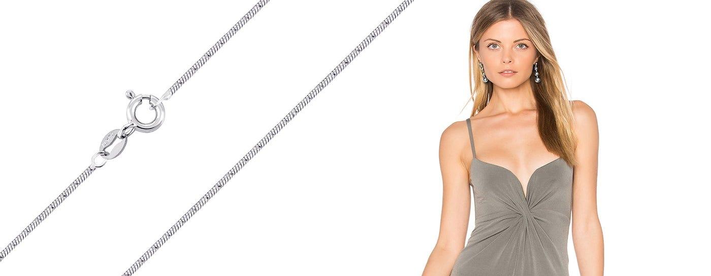 Серебряные цепочки снейк недорого