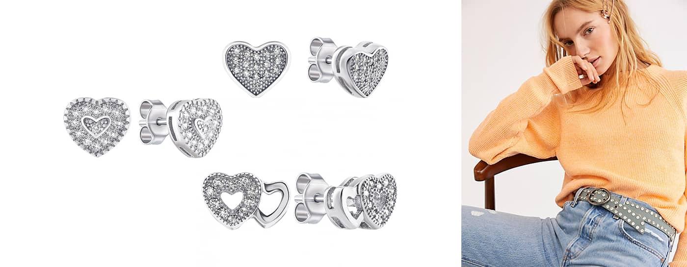 Серебряные серьги в форме сердца купить