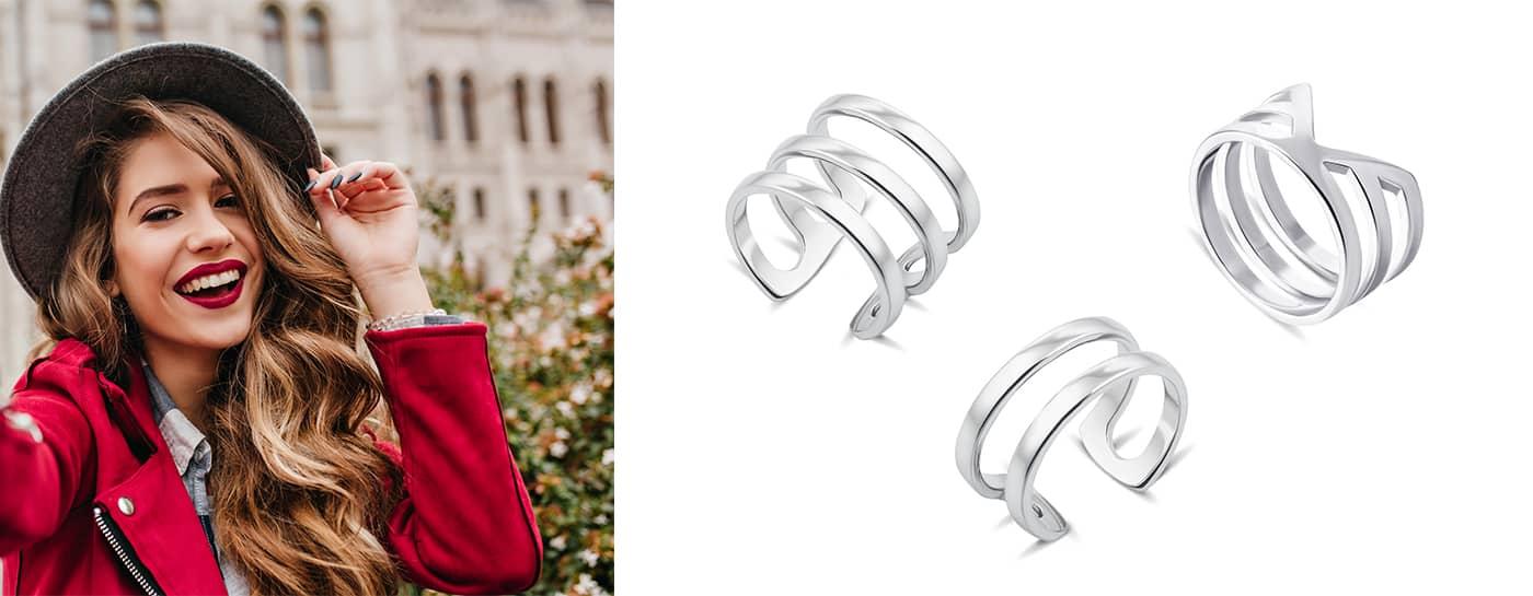 Гладкие фаланговые кольца из серебра купить