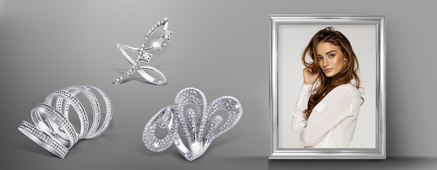 Серебряные фаланговые кольца с камушками фото